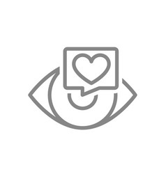 human eye with heart in chat bubble line icon vector image
