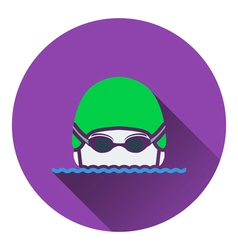 Icon of Swimming man head with goggles and cap vector image