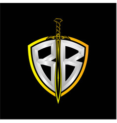 Initials b b is a shield decorated vector