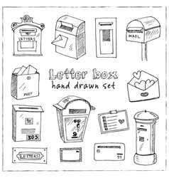 letter box hand drawn doodle set isolated vector image