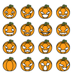 lineart halloween pumpkin decoration scary faces vector image