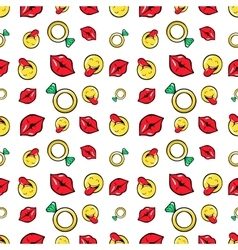 Lips Diamonds and Emoticons Seamless Pattern vector