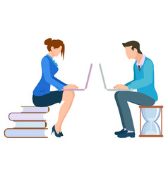 man and woman working on computer image vector image