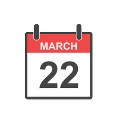 march 22 calendar icon in flat style vector image