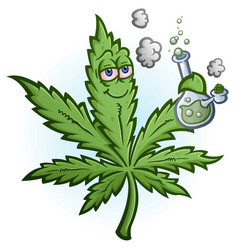 Marijuana leaf cartoon character smoking a bong vector