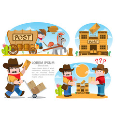 Men postmen cowboys indicate at the post office vector