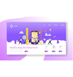 mobile application development landing page vector image
