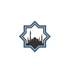 Mosque star hexagon icon logo flat line vector