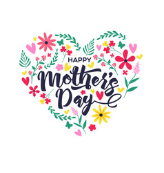 Mothers day card cute spring flower doodles vector
