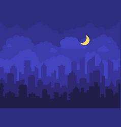 night cityscape cartoon city at night with vector image