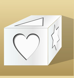 old paper gift box decorated with paper cut motifs vector image