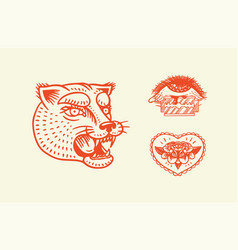 old school tattoo stickers panther heart and eye vector image