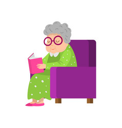 old senior woman in green dress reading a book vector image