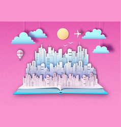 Open fairy tale book with urban city landscape vector