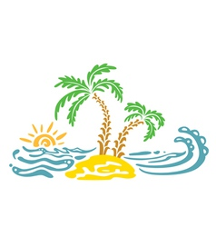 palm and sun vector image