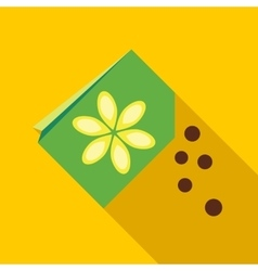 Paper bag with flower seeds icon vector image