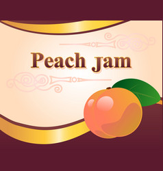 Peach jam label design template vector