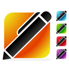 pen pencil icon in 5 bright colors vector image
