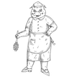 pig is dressed in maid costume and wipes dust vector image