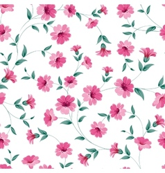 Pink flowers fabric vector