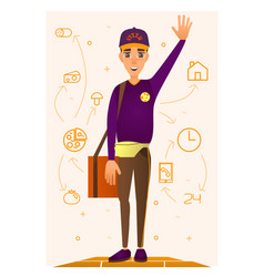 Pizza delivery person in flat vector