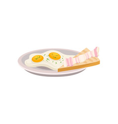 plate with fried eggs and fresh bread with piece vector image
