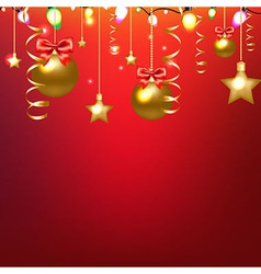 Red card with stars and christmas ball vector