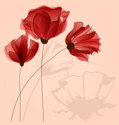 red flowers background vector image