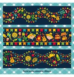 Ribbon of festa Junina village festival vector