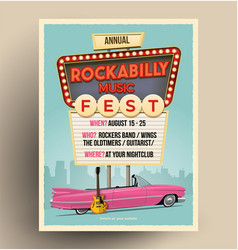 Rockabilly music festival flyer template vector