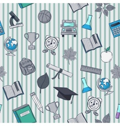 School pattern on striped background vector image