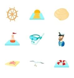 Sea icons set cartoon style vector