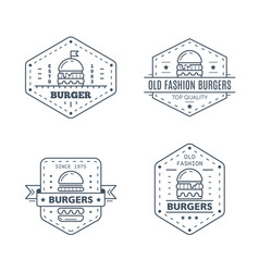 set burgers badge design line art vector image