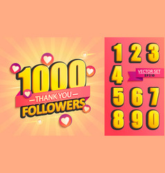 set numbers for thank you followers design vector image