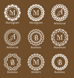Set of creative monograms template ornament line vector