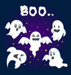 set of halloween ghost vector image