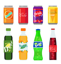 Set of soft drinks in plastic and aluminum vector