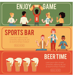 set of sports and beer bar vector image