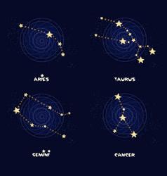 Set of zodiac constellations aries taurus gemini vector