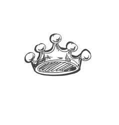 Sketch doodle drawing icon of cartoon crown vector