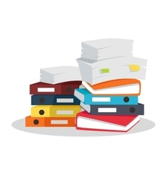 Stack of Documents Flat Design on White vector image