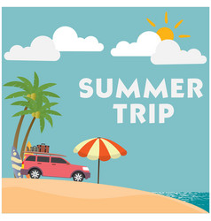 Summer trip van umbrella blue sky background vector