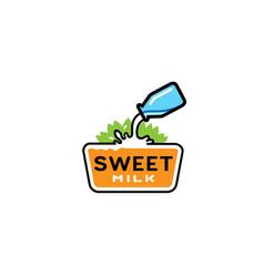 sweet milk type letter logo vector image