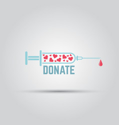 syringe filled with hearts isolated icon vector image