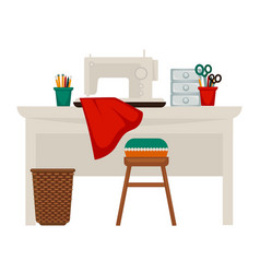 Table with sewing machine vector