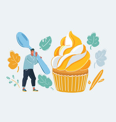 the bakery concept a big dessert man cupcake vector image
