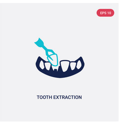Two color tooth extraction icon from dentist vector