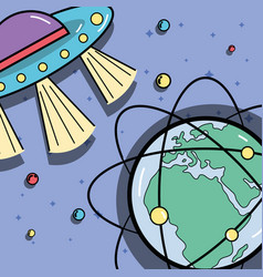Ufos and geostationary orbits around earth planet vector