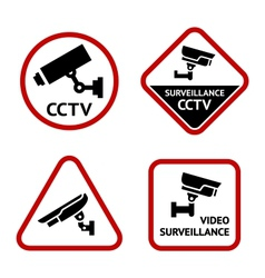 Video surveillance set white labels vector