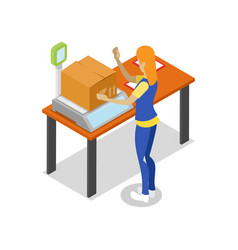 warehouse logistics isometric 3d icon vector image